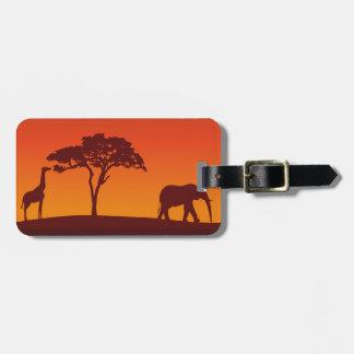 African Safari Silhouette - Luggage Tag