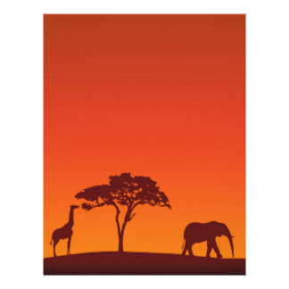 African Safari Silhouette - Stationery Letterhead
