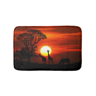 African Safari Sunset Animal Silhouettes Bath Mat