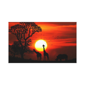 African Safari Sunset Animal Silhouettes Canvas Print
