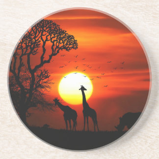 African Safari Sunset Animal Silhouettes Coaster