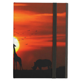 African Safari Sunset Animal Silhouettes iPad Air Cases