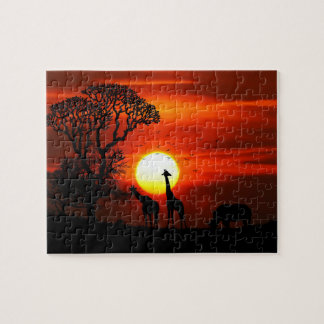 African Safari Sunset Animal Silhouettes Jigsaw Puzzle
