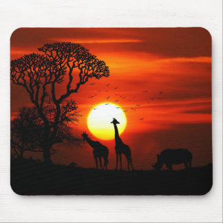 African Safari Sunset Animal Silhouettes Mouse Pad