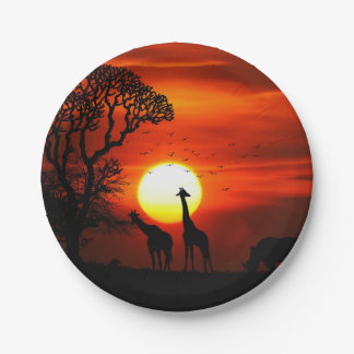 African Safari Sunset Animal Silhouettes Paper Plate