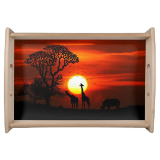 African Safari Sunset Animal Silhouettes Serving Tray