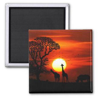 African Safari Sunset Animal Silhouettes Square Magnet