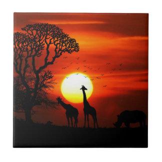 African Safari Sunset Animal Silhouettes Tile