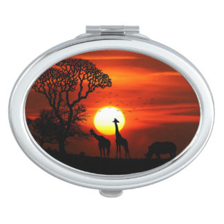 African Safari Sunset Animal Silhouettes Travel Mirror