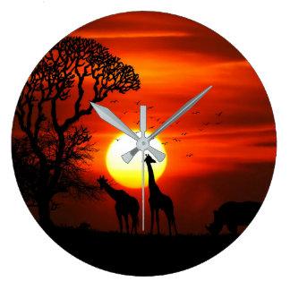 African Safari Sunset Animal Silhouettes Wall Clock