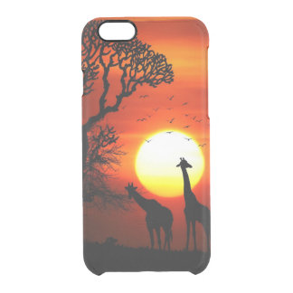African Safari Sunset Giraffe Silhouettes Clear iPhone 6/6S Case