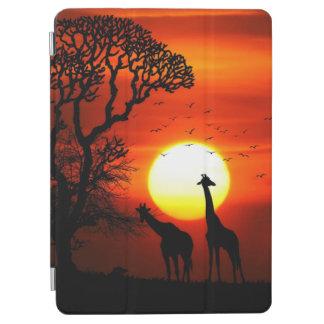African Safari Sunset Giraffe Silhouettes iPad Air Cover