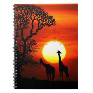 African Safari Sunset Giraffe Silhouettes Notebook