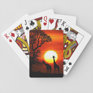African Safari Sunset Giraffe Silhouettes Playing Cards