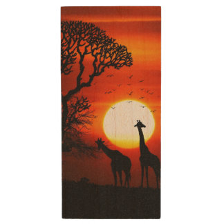 African Safari Sunset Giraffe Silhouettes Wood USB 2.0 Flash Drive