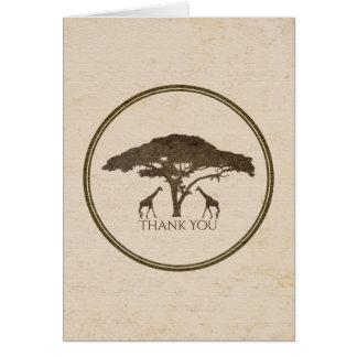 African Safari Two Giraffes Wedding Thank You Card