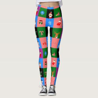 african santa claus colorblock leggings