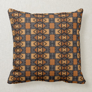 African Style Pattern in ochre, black, white. Throw Pillow
