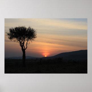 African Sunrise in Kenya Poster