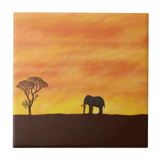 African Sunset with Elephant Naive Digital Art Tile