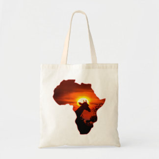 African Sunset with Giraffe Silhouette Tote Bag