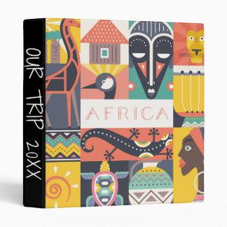 African Symbolic Art Collage 3 Ring Binder