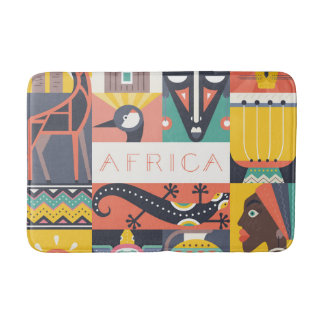 African Symbolic Art Collage Bath Mat