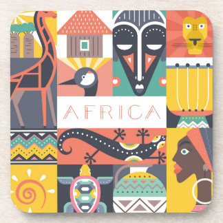 African Symbolic Art Collage Coaster