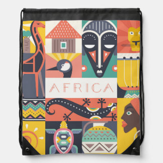 African Symbolic Art Collage Drawstring Bag