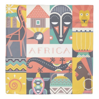 African Symbolic Art Collage Duvet Cover