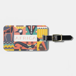 African Symbolic Art Collage Luggage Tag