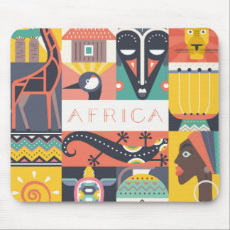 African Symbolic Art Collage Mouse Pad