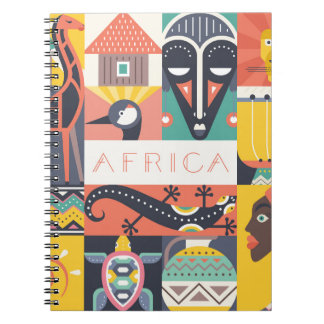 African Symbolic Art Collage Notebook
