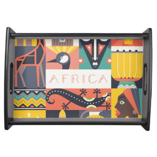 African Symbolic Art Collage Serving Tray