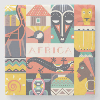African Symbolic Art Collage Stone Coaster