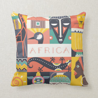 African Symbolic Art Collage Throw Pillow
