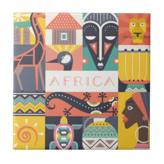 African Symbolic Art Collage Tile