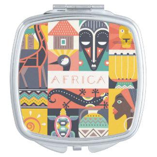 African Symbolic Art Collage Vanity Mirror