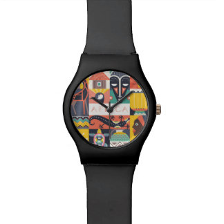 African Symbolic Art Collage Watch