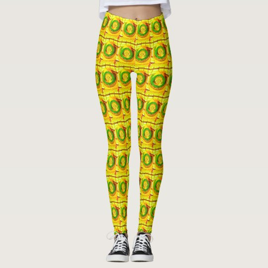 African Traditional Golden Yellow Rose Pattern art Leggings