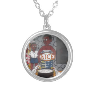 African traditional homestead cute nice lovely col silver plated necklace