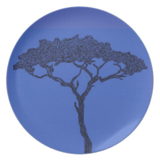 African tree ink pen black on denim blue party plates