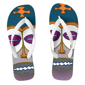 AFRICAN TRIBAL ART FLIP FLOPS