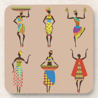 African Tribal art ladies colourful ethnic fashion Coaster