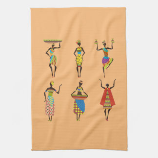 African Tribal art ladies colourful ethnic fashion Kitchen Towel