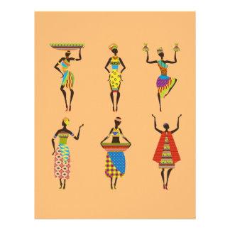 African Tribal art ladies colourful ethnic fashion Letterhead
