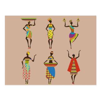 African Tribal art ladies colourful ethnic fashion Postcard