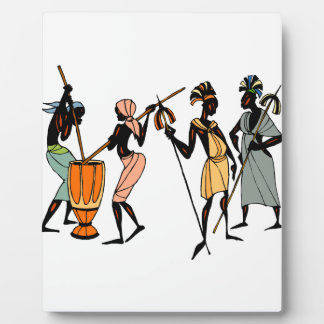 African tribal art tabletop plaque with easel