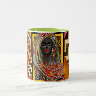 African Tribal Bride Two-Tone Mug