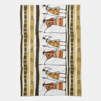African Tribal Hunters Graphic Kitchen Towel